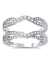 14K White Gold Plated Simulated Diamond Double Infinity Wedding Ring Guard Enhancer 1.50ct