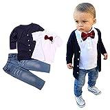 Boys Clothes Set 2-7 Years Old,Kids Baby Boys Autumn Winter Long Sleeve T-Shirt Tops+Coat+Denim...