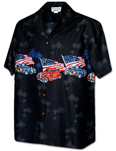 - Pacific Legend American Flag Hotrods Men's Car Shirt 3942-BLACK-XL