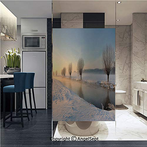 Window Door Sticker Glass Film,Snowy River Landscape Barren and Frosted Trees Dutch Netherlands Europe Photograph Decorative Anti UV Heat Control Privacy Kitchen Curtains for Glass, 22.8 x 35.4 inch