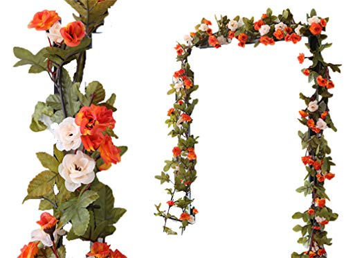 (Lannu 2 Pack Artificial Rose Vine Flowers Fake Garland Ivy Flowers Silk Hanging Garland Plants for Home Wedding Party Decorations, (Orange &Champagne))