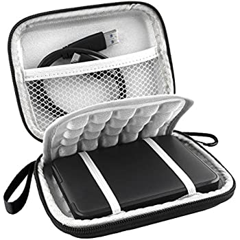 Lacdo EVA Shockproof Carrying Case for Western Digital My Passport Studio Ultra Slim Essential WD Elements SE Portable 500GB 1TB 2TB USB 3.0 Portable 2.5 inch External Hard Drive Travel Bag, Black