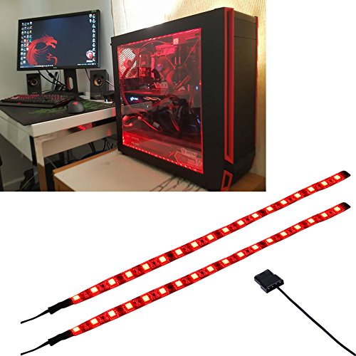 LEDdess LED Light Strip Computer Lighting RED, Magnetic, Molex Connector, 2pcs LED Strip for PC Case Lighting Kit (30cm,18leds,S Series)