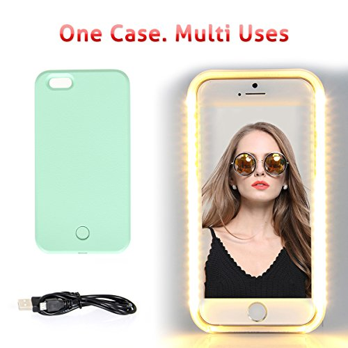 Walnut LED Lightning Selfie Phone Case, Fab For Selfies/Applying Make-Up/Flashlight/Videos/Facetime, Protects Phone & Includes Charger For IPhone 6/6S-Mint Green