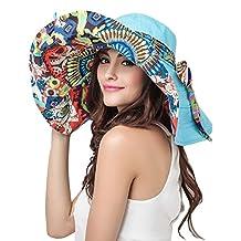 Eleter® Women's Large Wide Brim Floppy Beach Visor Hat Foldable Beach Sun Hat