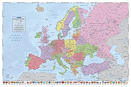 Pyramid internationalflags political map of europe maxi poster pyramid internationalquotflags political map of europequot maxi poster multi colour gumiabroncs Images