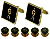 Select Gifts Inner-Guard Gold Cufflinks Masonic 5 Shirt Dress Studs Box Set