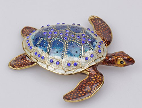Sea Turtle Crystal Studded Pewter Jewelry Trinket Box