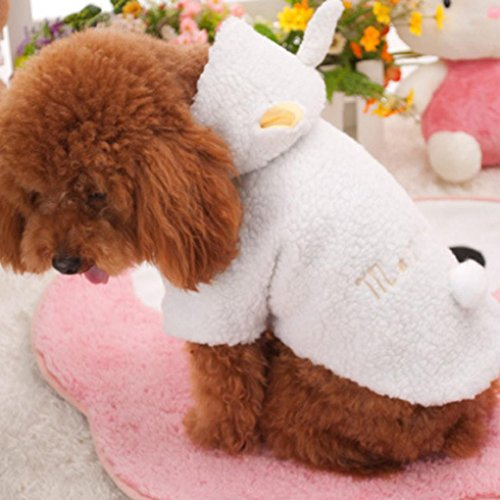 Lotus.flower Cute Pet Winter Clothes, Plush Puppy Dog Cat Padded Thickening Sheep Costumes Soft Warm Winter Coat (M) -