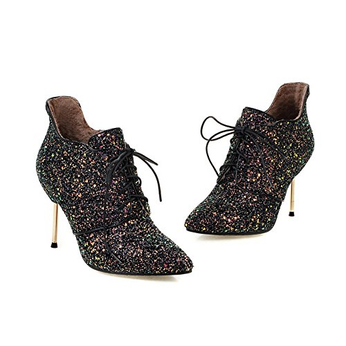 Black Up Materials Lace Winkle Stiletto Blend Pinker Womens Boots BalaMasa Z14qz