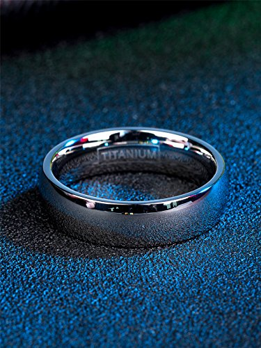 Just Lsy 6mm Titanium Rings Plain Dome High Polished Silver Wedding Band in  Comfort Fit Size 5 5-15