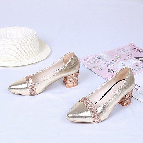 KPHY Schuhe Mit Hohen Absätzen Pailletten Mund Flachen Mund Pailletten Dicke Sohle Einzelne Schuhe Sagte Meine Damen Damen - Schuhe. ec7411