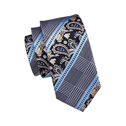 Dot Link (Hi-Tie Mens Novelty Blue Paisley Plaid Tie Pocket Square Cufflinks Tie Set for Men)