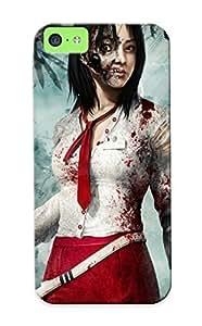 Judasslzzlc 35951051207 Protective Case For Iphone 5c(dead Island Zombie Necktie Brunee Girl Cave Games Girls Dark Horror ) - Nice Gift For Lovers