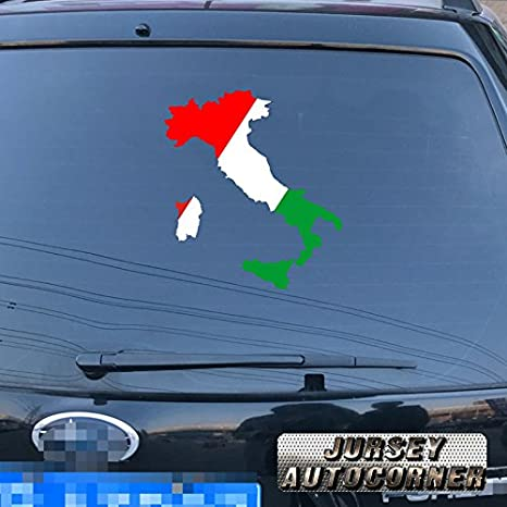 Flag and Map of Italy Italian Car Decal Sticker