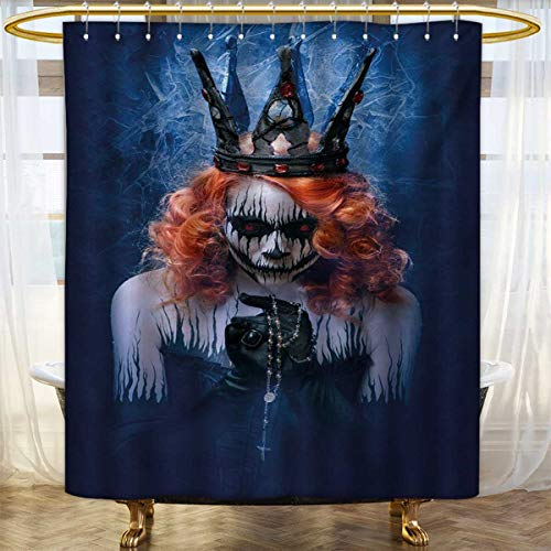 lacencn Queen,Shower Curtains Waterproof,Queen of Death Scary Body Art Halloween Evil Face Bizarre Make Up Zombie,Fabric Bathroom Set with Hooks,Navy Blue Orange Black,Size:W108 x L72 -