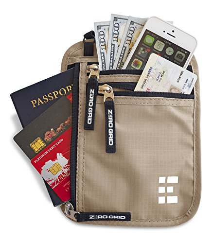 Zero Grid Neck Wallet w/RFID Blocking- Concealed Travel Pouch & Passport Holder
