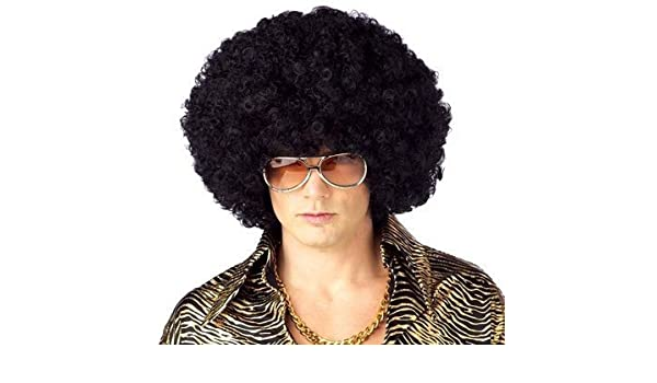 Amazon.com: QQXCAIW Anime Dance Party Afro Wig Cosplay Short Curly Costume Synthetic Fiber Black Wigs Ball Fans Halloween Peruca Pelucas: Beauty