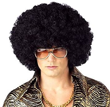 QQXCAIW Anime Dance Party Afro Wig Cosplay Short Curly Costume Synthetic Fiber Black Wigs Ball Fans