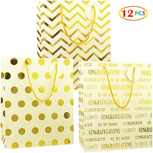 Gold Metallic Foil Gift Bags, Fzopo 12 Pcs Premium Quality Kraft Style Prints Paper Bags for Birthday, Party, Kids, Baby Shower, Wedding, Graduation, Holiday, and All Occasion