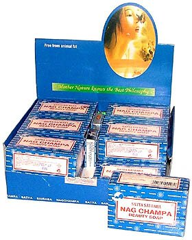 Nag Champa Natural Soap - Box of 12 Regular 75 Gram (2.5 Ounce) Bars - Satya Sai Baba by Satya Soap - incensecentral.us