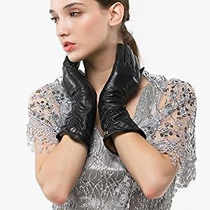 "Nappaglo Women's Italian Lambskin Leather Gloves Winter Warm Simple Long Fleece Lining Gloves (Touchscreen or Non-Touchscreen) (L (Palm Girth:7.5""-8""), Black (Touchscreen))"