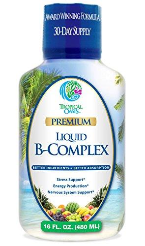 Tropical Oasis Premium Liquid B-Complex w/ Energy maximizing Herbs - Fast Absorbing Liquid B Complex Supplement w/ full line of 8 B-vitamins - 16 oz, 32 servings