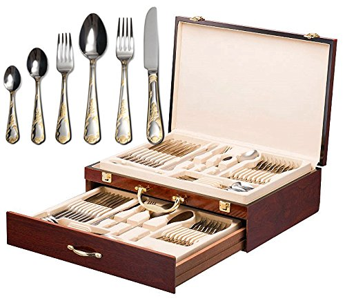 (Italian Collection 'Florence' 75-Pс Premium Flatware Set w/Wooden Storage Case, Dining Cutlery Service for 12, 24K Gold plated 18/10 Stainless Steel Hostess Serving Set in a Chest)