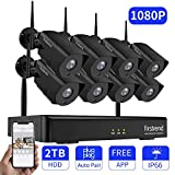 Security Camera System, Firstrend 1080P Security Camera System Wireless with 8pcs HD Outdoor Indoor Security Camera 65ft Night Vision IP66 Waterproof,P2P Surveillance Camera System with 2TB Hard Drive