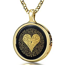 "14k Yellow Gold I Love You Necklace 24k Gold Inscribed 120 Languages Onyx Pendant, 18"" Gold Filled Chain"