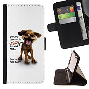 BullDog Case - FOR/Apple Iphone 5C / - / You Don't Have To Be Crazy /- Monedero de cuero de la PU Llevar cubierta de la caja con el ID Credit Card Slots Flip funda de cuer
