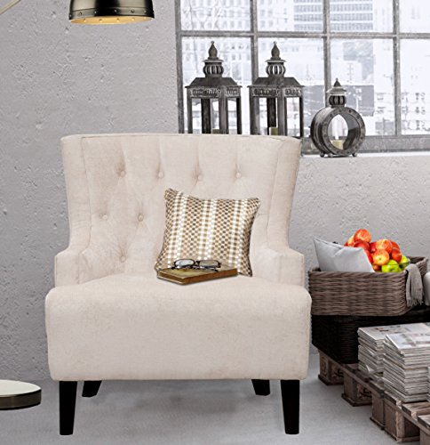 (Iconic Home Hemingway Modern Tufted Taupe Velvet Accent Chair with Solid Oak Legs, Oversized)