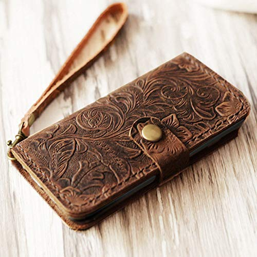 Genuine Italian Leather Case for iPhone 8 Plus/iPhone 7 Plus(5.5 inch) Wallet Case Handmade Luxury Retro Classic Cover Slim Wristlet Tooled Flower Brown EXTRA STUDIO