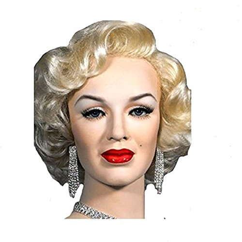 Blonde Hippie Costumes Wig (ADAMAI 14'' Cool Retro Monroe Short Natural Blonde Fluffy Curly Costume Wigs Comfortable Synthetic Hair Wigs)