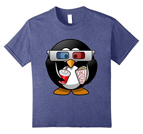 Kids Movie Night Cinema Penguin T-Shirt - cute animal shirt 8 Heather Blue