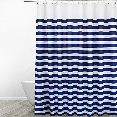 Eforgift Navy Blue on White Polyester Shower Curtain Mildew Resistant Fade Restraint Fabric for Unisex-Adults, Nautical Stripes Print Bathroom Curtain Waterproof & Anti Soap Scum, 54-inch x 78-inch