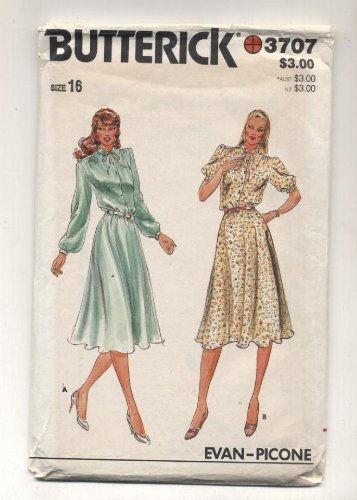 Vintage Butterrick Evan Picone Dress Sewing Pattern # 3707