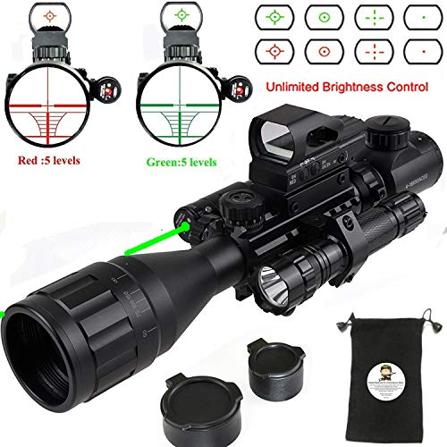 (XOPin Rifle Scope Hunting Combo C4-16x50EG Dual Illuminated with Green Laser Sight 4 Holographic Reticle Red/Green Dot for Weaver/Rail Mount (Updated 4-16x50EG Green Laser))