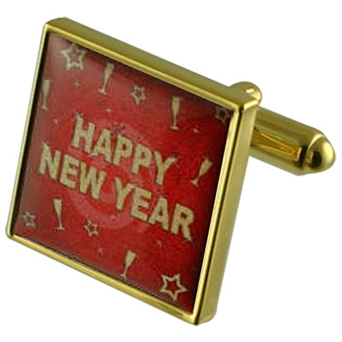 Select Gifts Happy New Year Gold-Tone Square Cufflinks with Engraved Personalised Case ()