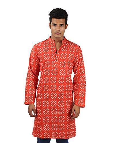 Indian Designer Handmade Cotton Short Mens Kurta Casual Punjabi Traditional Wear Clothing, Dark Peach by RAJRANG