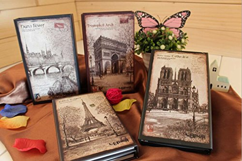 Paris Vintage Tri-fold Hard Cover NoteBook Diary Ruled Journal Planner Memo GIFT