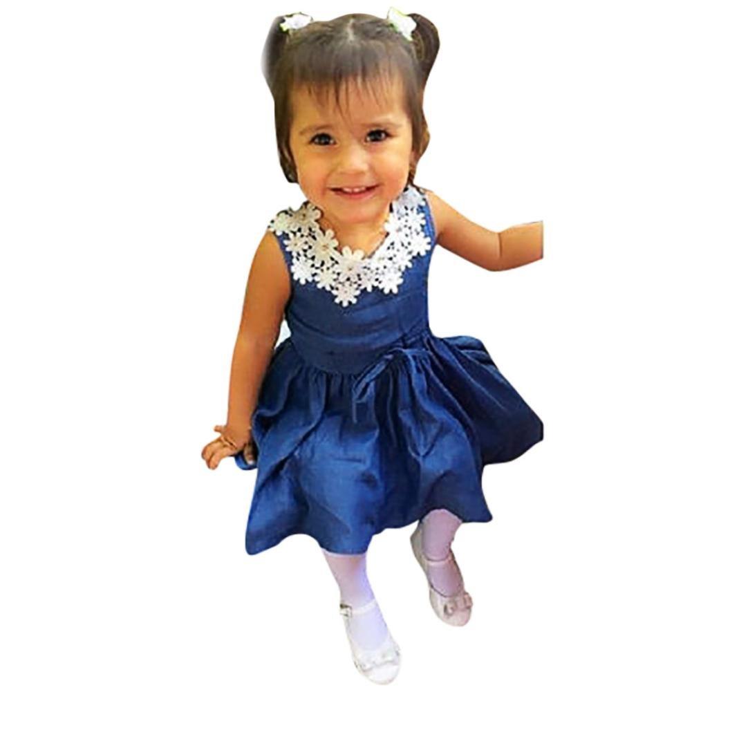 8596039d0221 Lolittas Newest Toddler Baby Girls Dress,0-3 Years Floral Trim Bowtie  Elastic Swing Pleated Princess Gift Wedding Bridesmaid Sun Dress   Amazon.co.uk  ...