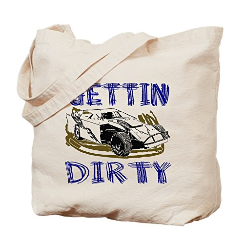 New Style Race Car - CafePress - Gettin Dirty - Dirt Modified - Natural Canvas Tote Bag, Cloth Shopping Bag