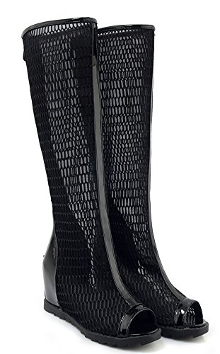 Black Sandals Mesh Hidden Women's New Zip Heels Aisun Boots Up BzP7C