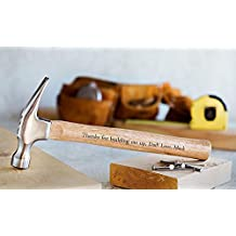 Personalized Engraved Hammer Fathers Day Gifts for Dads and Grandpa (Thank you for building me up)