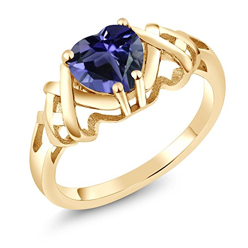 Gem Stone King 0.84 Ct Heart Shape Blue Iolite 18K Yellow Gold Plated Silver Ring (Size 6)