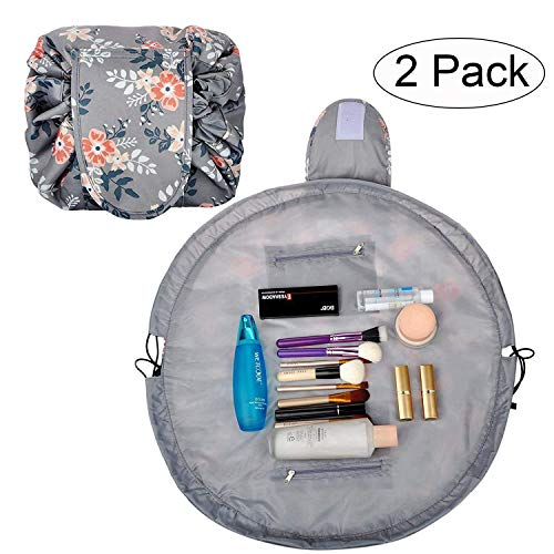 Lazy Makeup Bag Drawstring Cosmetic Bag Portable Quick Pack Travel Makeup Pouch Case Multifunctional Waterproof Toiletry Bags Makeup Brushes Storage Organizer (2 pack light gray)