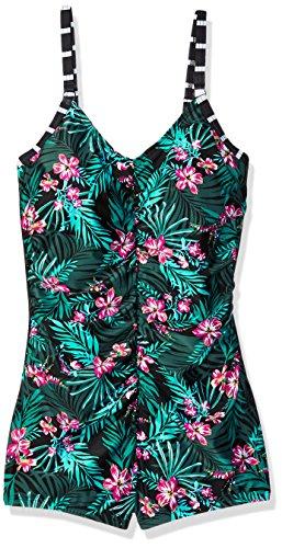 Amoena Women's Mexico Jungle Print Pocketed Boyleg Swim Suit, 8C