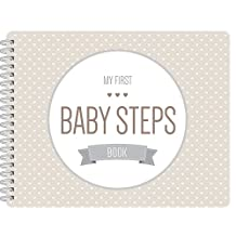 """NEW! Baby First Year Memory Book. Smokey Gray """"Modernista""""(TM), Poly Cover Hand Made. Memory keeper record book and journal for Boy or Girl. 7.5x9.5"""" - Best Shower Gift!"""