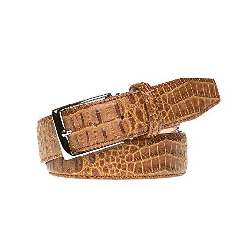 Gold Italian Mock Croc Leather Belt